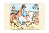 Young Girl Rides a White Horse Followed by a Suitor