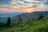 Mountains Sunset Landscape on Blue Ridge Parkway Evening