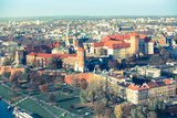 Aerial View of Royal Wawel Castle with Park in Krakow  Poland (Cross Process Style)