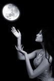 Moon in Hands Attractive Fairy Girl