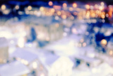 City from a Fairy Tale with Bokeh Lights at Night