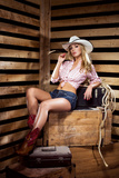 Young  Happy and Sexy Cowgirl in Western Style