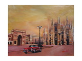 Milan Cathedral with Oldtimer Convertible Alfa Romeo