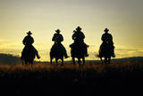 Cowboys Hitting the Trail at Sunrise  Oregon  USA