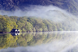Mist Hangs over the Clear Waters of Llyn Dinas