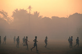 Children Playing Soccer at Sunset  Tha Khaek  Khammuan  Laos  South-East Asia