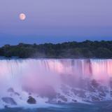 Usa  New York  Moon over American Falls at Dusk