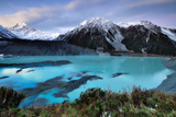 Mueller Glacier Lake and Mount Cook at Dusk