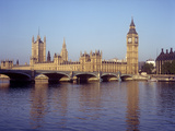 Houses of Parliament and Big Ben on the River Thames  London  England  UK