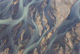 Aerial View of River Estuary Water  Iceland