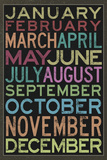 Months of the Year Colorful Text