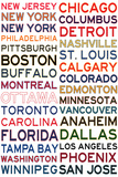 National Hockey League Cities on White