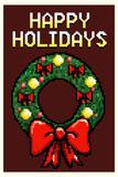 8 Bit Happy Holidays Wreath