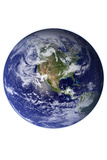 Planet Earth Western Hemisphere on White
