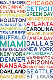 National Football League Cities on White