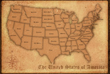 United States Vintage Style Map