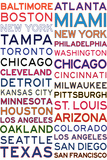 Major League Baseball Cities on White