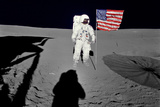 NASA Astronaut  Spacewalk Moon Photo