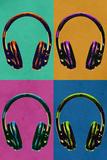 Headphones Vintage Style Pop Art