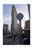 Flat Iron Building  New York with Clock (Landmark Architecture)