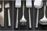 Collage of Cutlery Images on Rustic Style Background