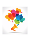 Megaphone and Hearts Icons the Concept of Love between People The Concept of Communication Betwee