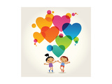 Cartoon Couple of People with Colored Hearts Valentine Day Concept the File is Saved in the Versi