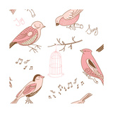 Seamless Background Made of Cute Hand-Drawn Bird Doodles
