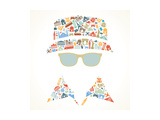 Human Face is Made up of Icons Landmarks Travel Concept Vector Illustration