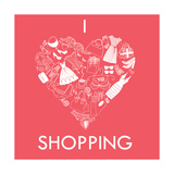 I Love Shopping! A Heart Shape Made of of Different Female Fashion Accessories