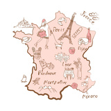 Stylized Map of France Things that Different Regions in France are Famous For