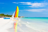 Scene with Sailing Boat at the Famous Varadero Beach   Caribbean Sea in Cuba