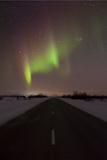 Northern Light in the Sky over Road  Finland