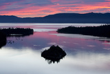 A Silhouette of Fannette Island in Emerarld Bay during a Beautiful Sunrise in Lake Tahoe  Ca