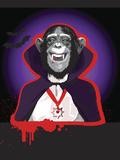 Chimpanzee in Dracula Costume