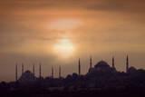Turkey  Istanbul  Blue Mosque and Hagia Sophia  Sunset