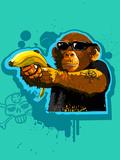 Chimpanzee Holding Banana like Gun