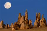 Australia  Nambung National Park  Moonrise over Rock Pinnacles