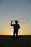 Silhouette of Cowboy with Lasso