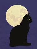 Black Cat and Moon Graphic Illustration Papier Photo par Don Bishop