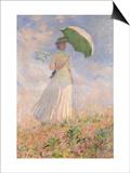 Essai de figure en plein air : femme à l'ombrelle tournée vers la droite