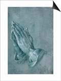 Praying Hands  1508  Point of Brush and Black Ink  Heightened with White  on Blue Prepared Paper
