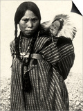 Woman from an American Indian Tribe with a Baby Resting in a Basket on Her Back