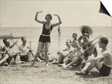 A Young Woman  Surrounded by Musicians  Dances on a Beach of the Lido of Venice