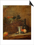 Fruit Basket with Grapes  a Silver Goblet and a Bottle  Peaches  Plums  and a Pear