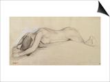 Femme nue allongée sur le ventre  la tête entre les bras