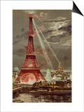 Embrasement de la Tour Eiffel pendant l'Exposition Universelle de 1889