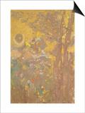 Décoration Domecy : arbres sur fond jaune