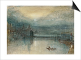Lucerne by Moonlight: Sample Study  Circa 1842-3  Watercolour on Paper