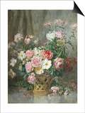 Still Life of Roses  Anemones and Phlox in a Basket